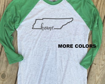 Tennessee Home - State Outline - Raglan Tee