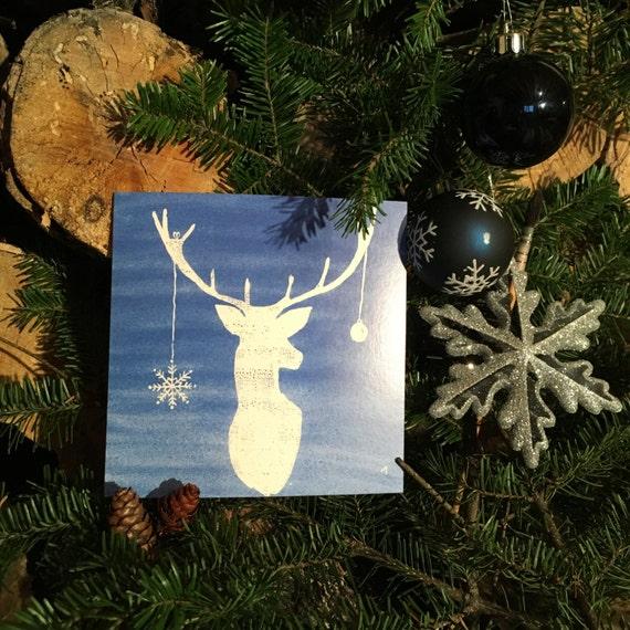 "2 greeting cards ""blue 7"" Christmas handmade watercolor * 2 Greetings cards ""Blue Christmas 7"" handmade watercolor"