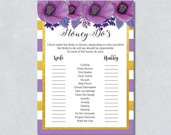 Purple floral honey do's bridal shower game, Hibiscus flower, purple and gold, DIY Printable, INSTANT DOWNLOAD