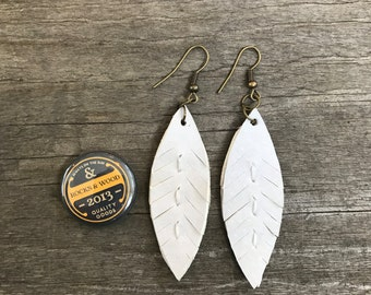 2 inch Leather/Suede Feather Earrings in White