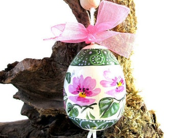 Hanging wooden hand painted egg-Easter-decoration with wire and Bell-collectibles