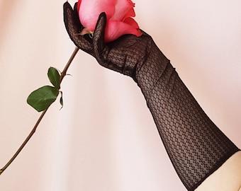Vintage 1950s Diamond Patterned Sheer Elbow Length Opera Gloves In Black