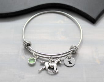 Horse Bangle Bracelet - Horse Bracelet - Horse Lover Gift - Rodeo Bracelet - Horse Training - Personalized - Horseback Riding - Equestrian