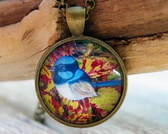 Blue Wren pendant necklace, blue wren, blue wren necklace, original art, art pendant, blue wren pendant, bird necklace,