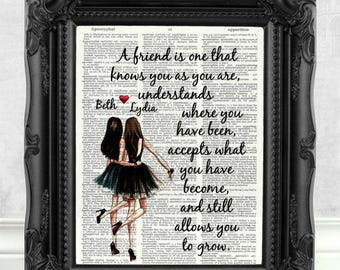 Personalized Best Friend Gift for Best Friend Brunette Best Friend Quote print Gift Best Friend Birthday Gift Personalized Friend Print 152