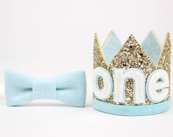 First Birthday Boy Crown | ONE Birthday Party Hat | 1st Smash Cake Photo Prop | Pale Gold + Baby Blue ONE