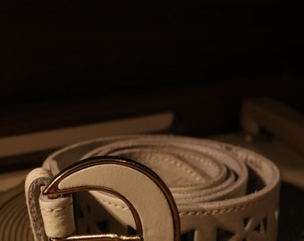 True vintage belt white/gold 80s leather triangles punched 100 cm