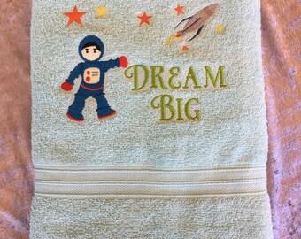 Bath Towel – Embroidered – Space Theme – Dream Big – Blue