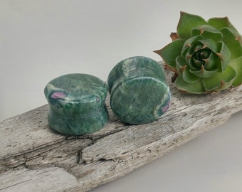 "Ruby in Fuchsite plugs 16mm, stone body jewelry, organic stone plugs, handmade plugs, stone plugs 5/8"", organic ear stretchers"