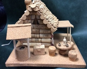 "Miniature ""Forest house"" from cork & wine cork stoppers. / Art deco"