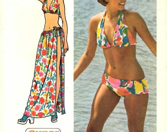 1970s Misses Bikini and Wrap tie skirt Simplicity 5644 size 12 - 14 the Pattern is cut used and complete