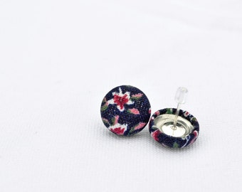 Fabric-covered button earring blue marrin - blue stud earing