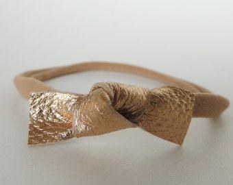 Single Knot Baby Headband | leather baby bow | nylon headband | handmade | baby headband | simple headband | trendy headband