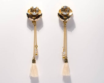 Crystal Light-white-Golden-based drop earrings with Swarovski crystals and tassels