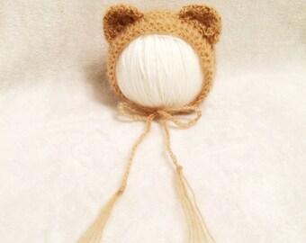 Crochet Yarn bonnet Hat Bear Style.Photography props.