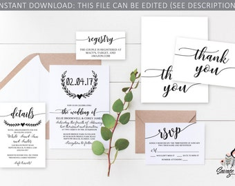 Wedding Invitation Set| Instant Download | Invitation, RSVP, Registry, Details, Thank You | Edit it yourself! Print at home! | WR_001BW