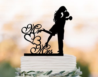 Mr and Mrs Wedding Cake topper, bride and groom silhouette wedding cake decoration, funny wedding cake toppers