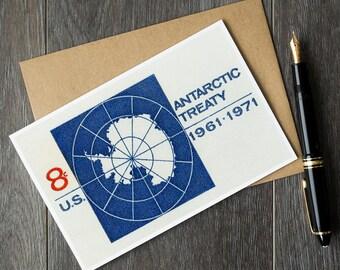 antarctica birthday cards, antarctica retirement cards, vintage us stamp art, antarctica christmas cards, antarctica gift ideas, unique gift