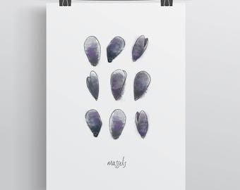Mussels. Wall Art Print. Outdoors, Adventures, Inspiration, Seaside, Seafood, Ocean, Gifts