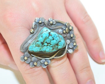 SALE Huge ARTISAN Natural Turquoise Sterling Silver Studio Chunky Modernist Statement Flower Ring