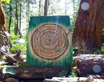Rustic Tree Ring Record burned on reclaimed wood