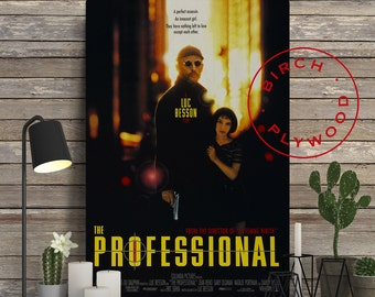 LEON: THE PROFESSIONAL - Poster on Wood, Luc Besson, Jean Reno, Gary Oldman, Natalie Portman, Christmas Gift, Wall Decor, Wood Print Art