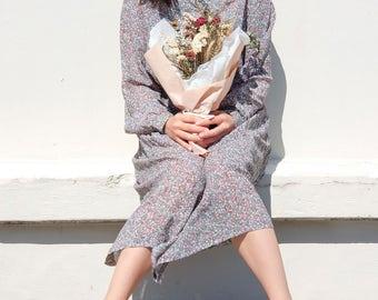 Moss floral dress / Japanese vintage dress / Floral dress / Green dress / Pleated dress / Ruffled dress / Floral prints / Size S-M