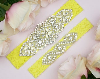 Bright Yellow Wedding Garter, Yellow Garter Set, Wedding Garter Set Yellow, Bridal Garter Belt, Yellow Bridal Garter, Garter Set, 9-1A