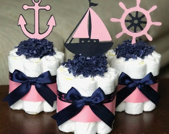 Girl Nautical Diaper Cake, Baby Shower Centerpiece, Baby Shower Decor Gift, Girl Pink Navy Anchor Nautical Diaper Cake, Set of 3, 1 Tier