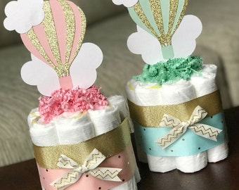 Hot Air Balloon Diaper Cake, Baby Shower Centerpiece, Decoration Gift, One Pink Gold or Mint Gold, Cloud Adventure Up and Away, Mini 1 tier