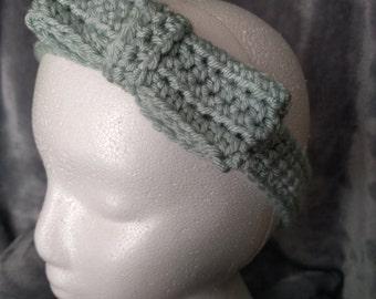 Mint Green Headband with Bow - Crochet
