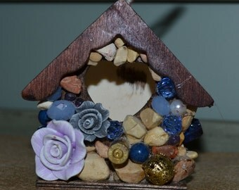 Decorative Minuture Birdhouse Rustic Mosaic Ornament Home Decor Bird Lovers Bird House
