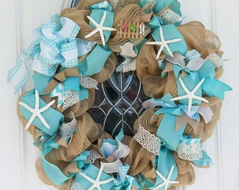 Deco Mesh Wreath, Beach Wreath, Starfish Wreath, Front Door Wreath, Summer Wreath, Wreaths, Wreath for Front Door Wreaths, Spring Wreath