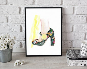wall art, fashion illustration, Dolce Gabbana shoes - 2 sizes available Giclee print