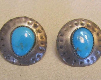 Vintage Sterling Silver Turquoise Earrings Signed PM