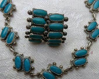 Vintage sterling silver and turquoise necklace and earring set