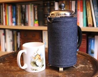 Dark Blue Denim Coffee Cosy - Retro French Press Cosy - Denim Cafetiere Cosy - Navy Blue Coffee Cozy - Retro Coffee Gift - Gingham Cosy.