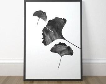 Gallery Wall Decor, Black and White Art, Ginko Leaf, Ginko Art, Scandinavian Art, Modern Minimalist Art, Instant Download, Digital Print