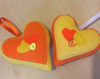 Hand stitched Orange and Yellow hanging hearts, home decor, any occassion, set of 2 hanging felt hearts. (HH010)