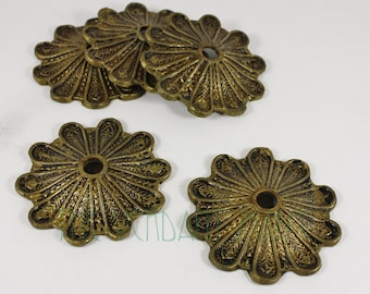 """ONE Antique Tarnished 3"""" Heavy Cast Brass Medallions for Belts, Costume and DIY"""