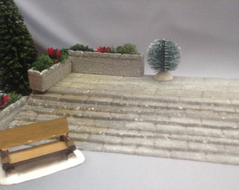 Model Grand Plaza granite steps, Xmas village steps, train platform basics