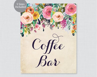 Printable Coffee Bar Sign - Floral Coffee Buffet Sign - Colorful Flower Wedding Coffee Bar Poster or Sign, Shabby Chic Coffee Bar 0003-A