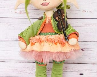 Elf doll Interior doll Beautiful doll Buy a doll Art doll Boudoir doll Rag doll Textile doll Cloth doll Decorative doll-Summer stuffed toy