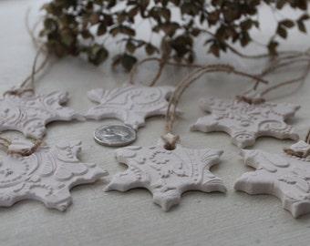 Set of SIX snowflake ornaments, bisque snowflakes, Winter ornaments, Winter decoration, Winter decor, Let it snow