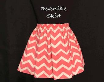 Girls Polka Dot Skirt; Toddlers Peach Colored Chevron Reversible Skirt; Chevron Skirt; Girls Gray & White Polka Dot Skirt; Toddlers Skirt