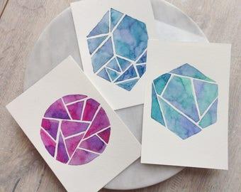 3 handmade original cards watercolor aquarel design illustration watercolour