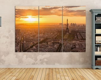 3 Pieces Aerial View of Paris, Eiffel Tower at Sunset Leather Print/Large Wall Art/Multi Panel Print/Paris Wall Decor/Better than Canvas!