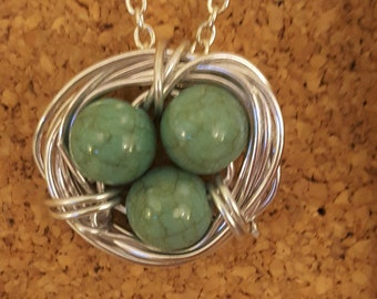 Handmade Robin's Egg Birds Nest Necklace