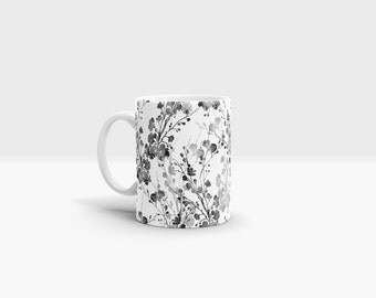 Black and White Flowers Mug. 11oz Ceramic Mug.