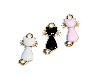Charms Cat Charms Set Cat Enamel Jewelry Cat Rescue Jewelry Kitty Charm Bracelet Charms 3 Pieces Pink Black White with Gold Trim